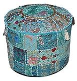 Funda para taburete Online Big Bazar con diseño étnico de la India y retro en color turquesa, decorado con bordado y parches, 58cmx33cm