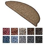 Beautissu Set 15 Alfombras pequeñas semicirculares ProStair Escalera - 55x15 cm - Marrón Ribeteado, Antideslizantes y Adhesivas
