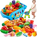 BUYGER Carro Compra Supermercado Juguete Cortar Alimentos Juguetes para Niños Bebe, Juego Cognitivo