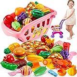 BUYGER 2 en 1 Carrito Compra Frutas y Verduras Juguetes Supermercado para Cortar Cocina Alimentos Accesorios Regalo Cumpleaños para 3 4 5 Años Niños Niñas