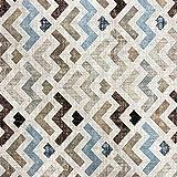 Kt KILOtela Tela de loneta Estampada - Retal de 100 cm Largo x 280 cm Ancho   Geométrico, Zigzag - Azul, marrón ─ 1 Metro