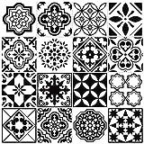 Juego de 16 adhesivos para azulejos de la colección Blanco y negro, para baño y cocina, vinilo, fáciles de colocar, simplemente despegar y pegar, decoración del hogar 20 x 20 cm